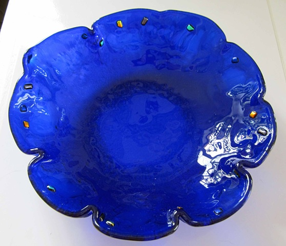 "Cobalt blue Flower Bowl  Details: Approx.  8""-9"" wide x 2-3"" deep Comes in any color, not just this pretty blue!"