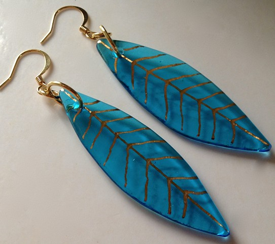 Large blue leaf earrings with gold hoops...