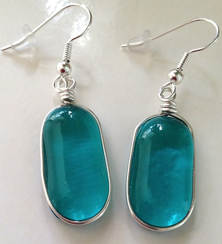 "Aqua ""Jelly Bean"" earrings"