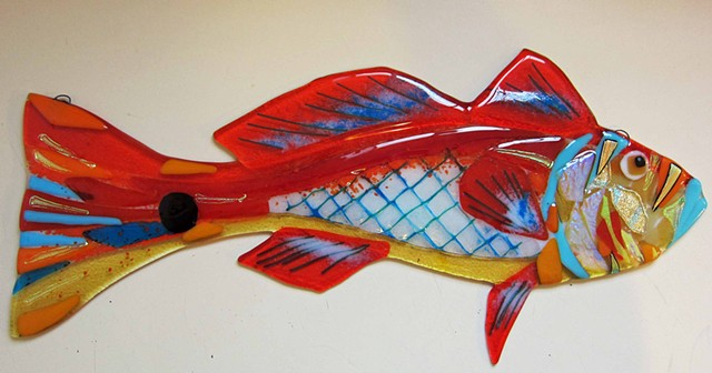 "Red Drum Fish...  details: about 19"" long x 8"" tall"