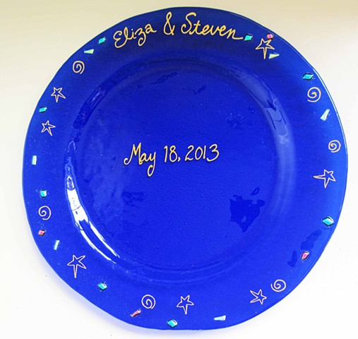 "Wedding Plate  details: about 12"" round with 18k gold lettering..."