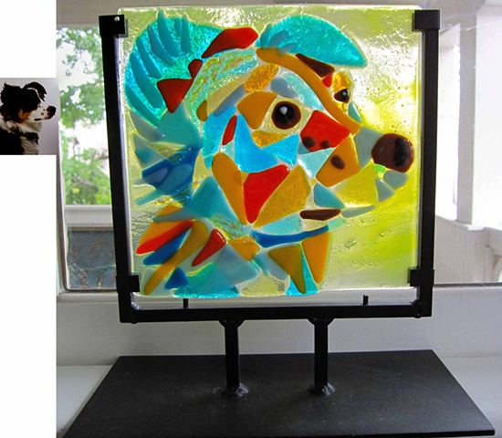 "Bella Bo Fused Glass 11.5 tall by 9"" (in the stand) $275.00"