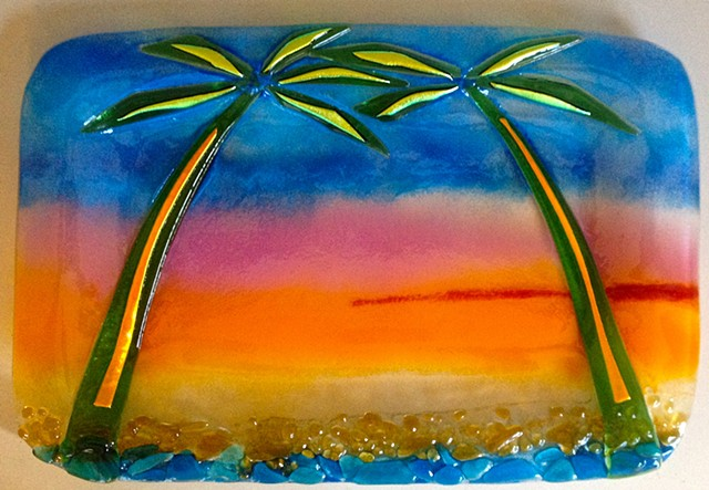 "Liquid Sunrise Platter... Details: Measures about 14"" x 9"" with rounded corners. $120.00"