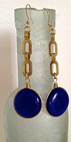 "Royal blue ""Fandangle"" earrings..."