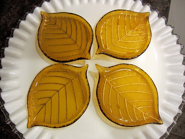 "Small, fat little leaf plates 5 3/4"" long x 4"" long $24 fused glass and 18k gold"