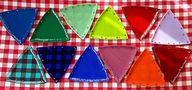 "Small Triangle Plates size:  8"" sides-- top point to bottom edge approx. 7""..."