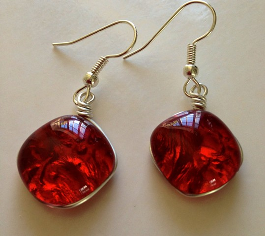 "Cherry Red Pillow Earrings!  details: 5/8"" x 5/8"" wrapped in silver hang on hypoallergenic ear wires"