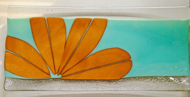 """Tangerine flower on vintage aqua"" platter"