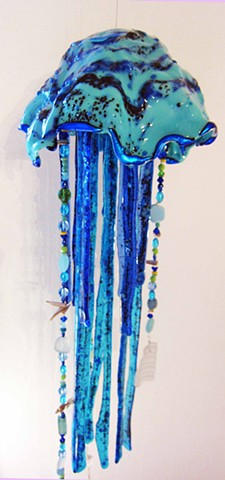 "Blue Jellyfish...  details: about 2' long x 9"" wide"