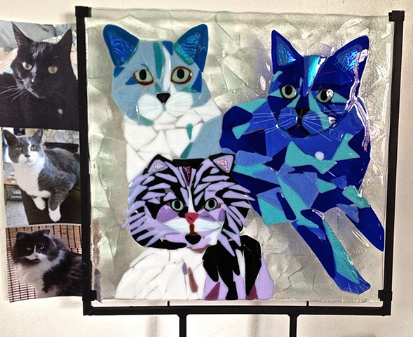 "Taz, Munckin and Pearl...  size is approximately 17"" x 17"""