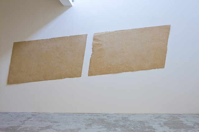 Beirut Art Center Square Meter Paper pulp cast (brown envelopes and pink invoice slips)