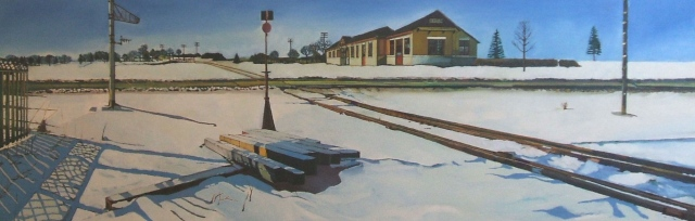 Julie Goulding artist oil paintings Station Crossing