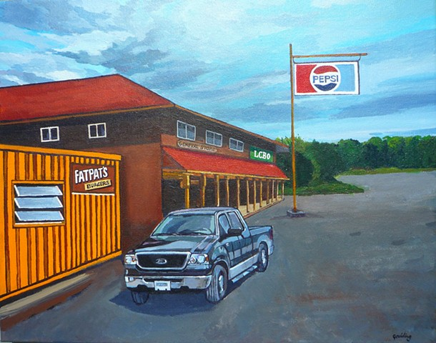 landscape art. Fat Pat's by Julie Goulding. Retro style.
