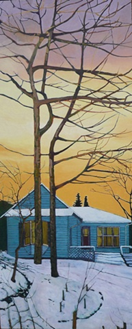 Julie Goulding  Trees In The Yard artist oil paintings