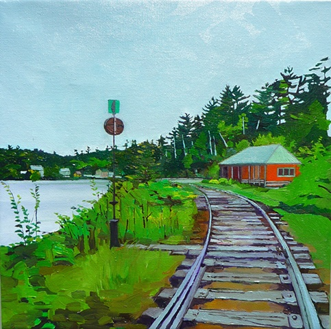 landscape art. rail tracks. oil painting train tracks. impressions.