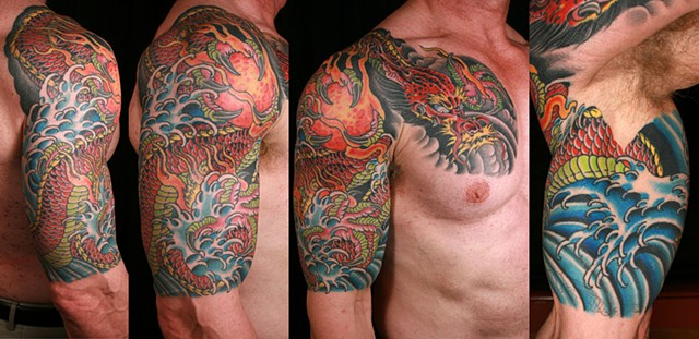dragon w/sun half sleeve