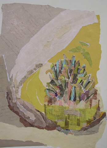semi-abstract look inside a magnolia blossom in collage