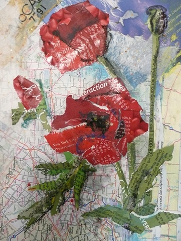 red poppies rendered in paper collage
