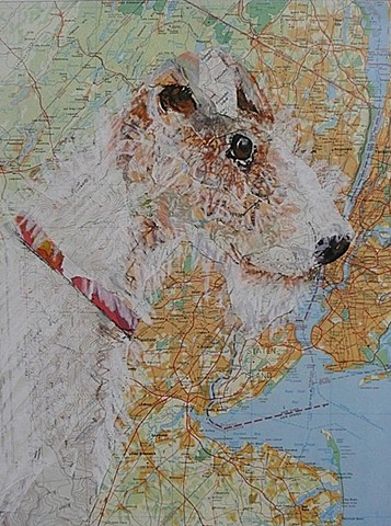 collage Airedale on map of NYC