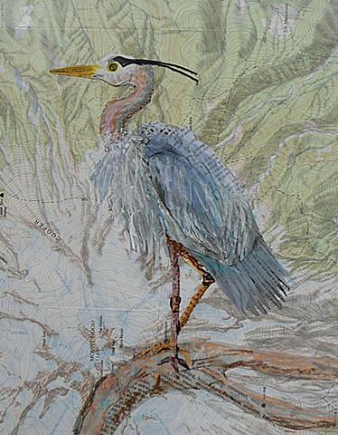 blue heron mixed media on topographic map of Mt. Hood