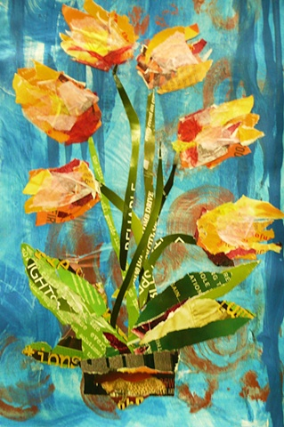 Tulips rendered in collage paper