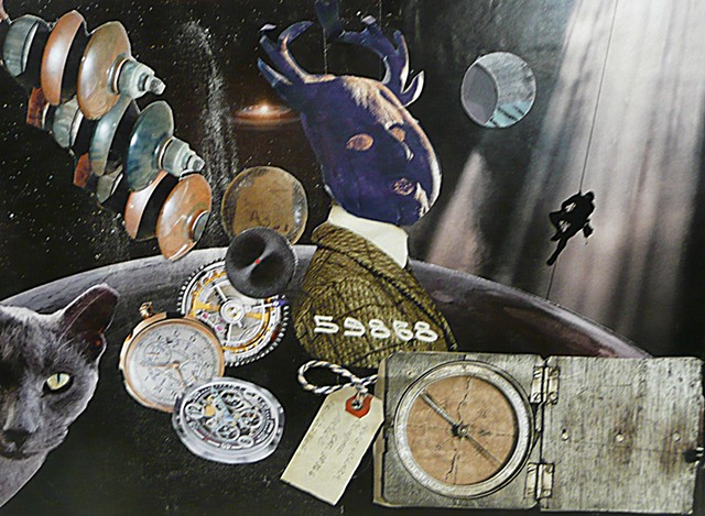 collage art showing mysterious images compass, gray cat