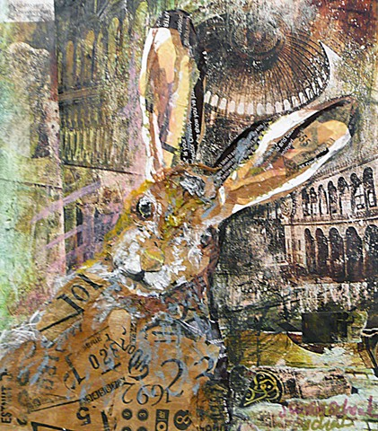 wild hare or rabbit made with collaged images from magazine