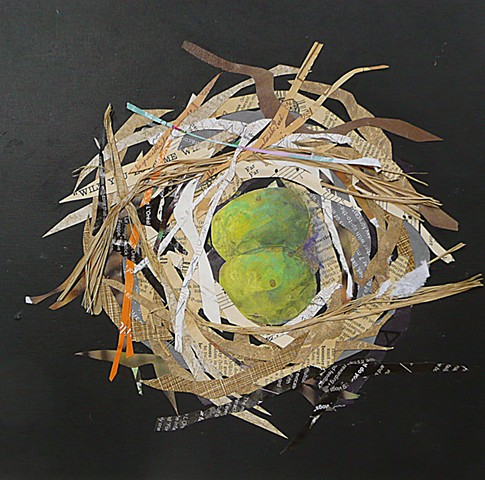 collage of a nest of a Swain's Thrush