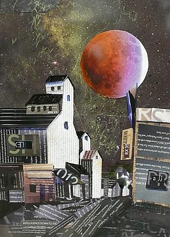 Blood Moon over Carlton, OR grain elevator
