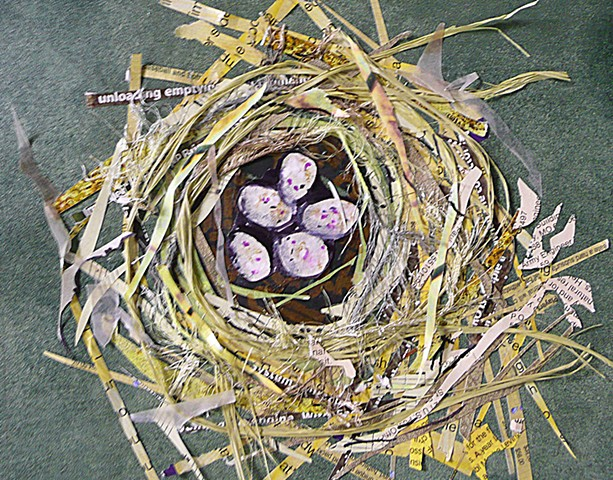 Jankowski's Bunting Nest in collage and mixed media