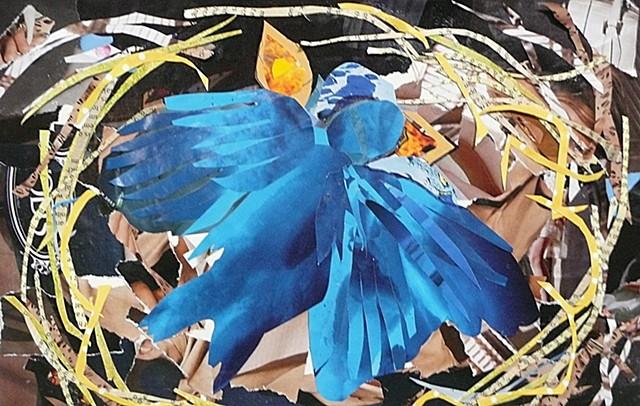 bright blue bird feeding baby birds