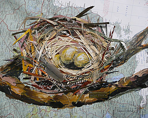 nest collage made with paper, string, yarn and found materials