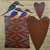 mixed media 3  birds 2 hearts