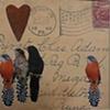 mixed media 4 birds 1 heart