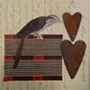 mixed media 1 bird 2 hearts