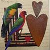 mixed media  2 birds 2 hearts