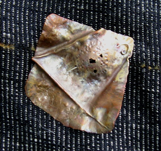 brooch, copper jewelry, hand hammered