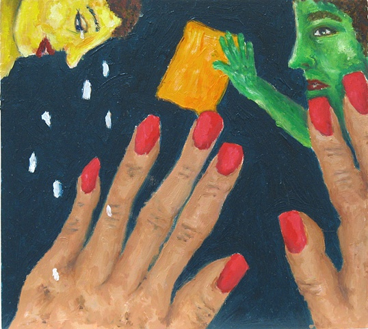 You Have Lovely Hands oil painting on wood