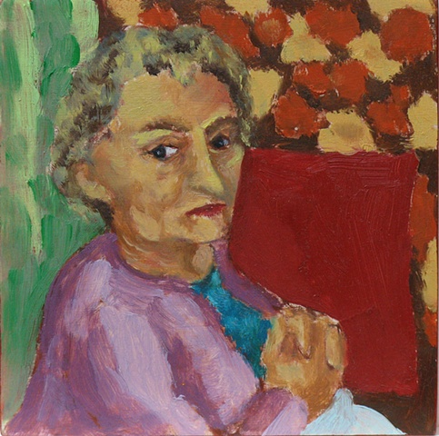 portrait grandma oil on wood