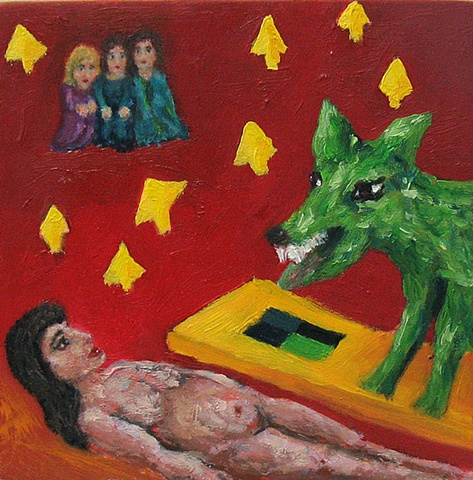 Big bad wolf 4 dream imagery small oil painting