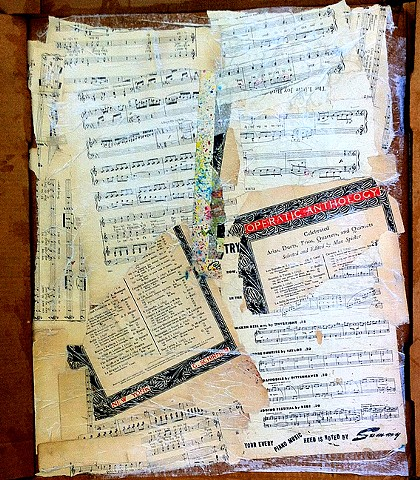 sheet music on cardboard