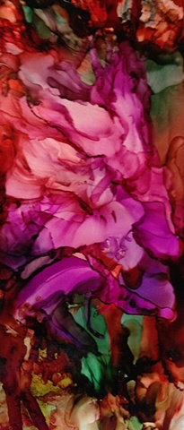 Colon Cancer fundraising, alcohol ink, rose, abstract