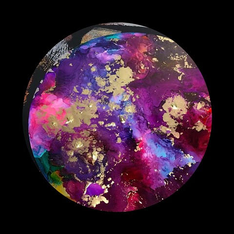 Aluminum circle, purple, gold,