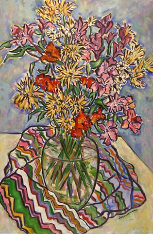 Spring Bouquet with Striped Cloth