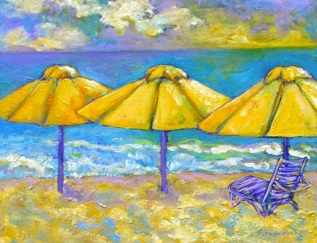 Beach Day with Yellow Umbrellas