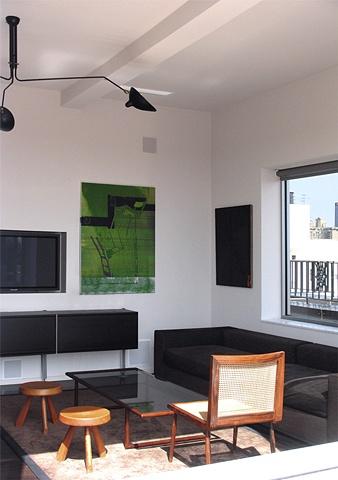 prewar penthouse apartment, modern minimalist livingroom, by Doug Stiles Interior Design