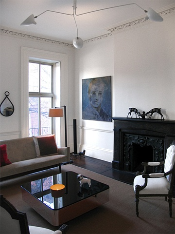 West Village Townhouse, front parlor, jens risom sofa, modern livingroom, by Doug Stiles Interior Design