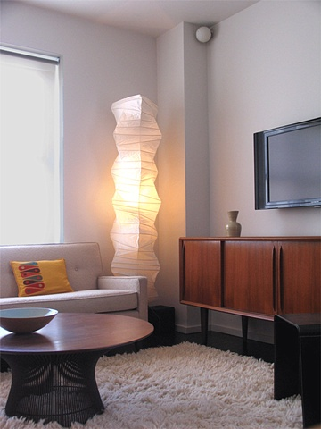 east village prewar apartment, modern livingroom, noguchi lamp, warren platner table, by Doug Stiles Interior Design