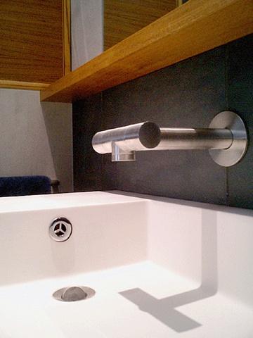 modern minimalist  bathroom, Boffi sink, Lefroy Brooks XO faucet, by Doug Stiles Interior Design