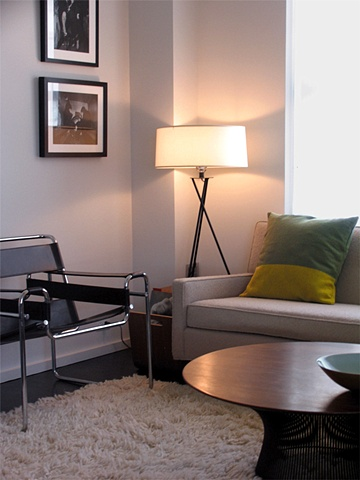 east village prewar apartment, modern livingroom, breuer wassily chair, by Doug Stiles Interior Design